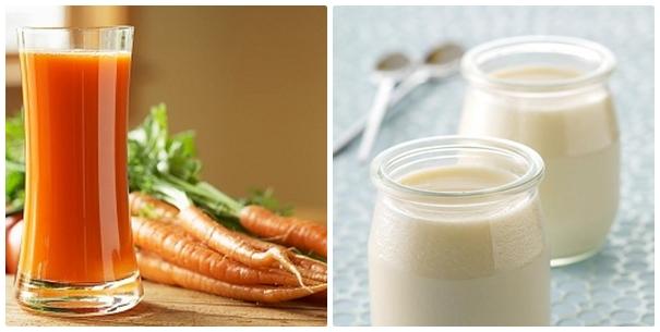 Cách trị mụn thịt nhanh chóng, đơn giản bằng cà rốt và sữa chua